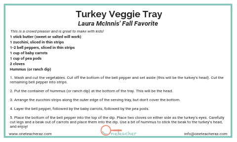 Turkey Veggie Tracy - Holiday Recipes from the OneTeacher Team